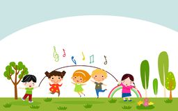 Happy children playing. Illustration of Happy children playing stock illustration