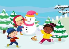 Happy children playing in snow Stock Images