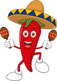 Happy chili pepper dancing with maracas Royalty Free Stock Image