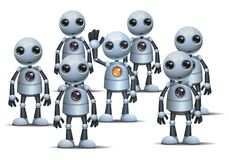 Little robot be different on crowd vector illustration