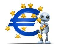 Little robot hold euro symbol. Illustration of a happy droid little robot hold euro symbol on isolated white background stock illustration