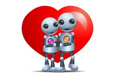 Little robot hugging in love shape stock illustration
