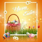 Happy easter eggs with basket and flowers on yellow background. Illustration of Happy easter eggs with basket and flowers on yellow background Stock Images