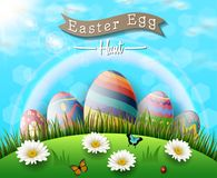 Happy easter eggs with flowers and butterfly on grass background. Illustration of Happy easter eggs with flowers and butterfly on grass background Royalty Free Stock Image