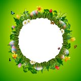 Happy easter with eggs and flowers on circle background. Illustration of Happy easter with eggs and flowers on circle background Royalty Free Stock Images