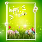 Happy easter eggs with flowers on green background. Illustration of Happy easter eggs with flowers on green background Stock Photos