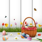 Happy easter with eggs and flowers on wood background. Illustration of Happy easter with eggs and flowers on wood background Royalty Free Stock Photo
