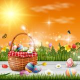 Happy easter with eggs and flowers on wood background. Illustration of Happy easter with eggs and flowers on wood background Stock Photography