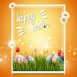 Happy easter eggs and flowers on yellow background. Illustration of Happy easter eggs and flowers on yellow background Stock Image