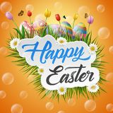 Happy easter with eggs and flowers on yellow background. Illustration of Happy easter with eggs and flowers on yellow background Royalty Free Stock Photos