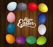 Happy Easter eggs frame with text. Colorful easter eggs on brown wooden background. Illustration of Happy Easter eggs frame with text. Colorful easter eggs on Royalty Free Stock Photos