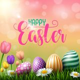 Happy Easter eggs with tulips flower on meadow background vector illustration
