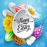 Happy Easter greeting card with easter eggs, flowers and bunny ears on blue background Royalty Free Stock Photos