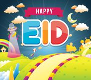 Illustration of happy eid with mosque royalty free illustration