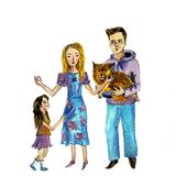 Illustration of a happy family with a dog. Watercolor illustration. vector illustration