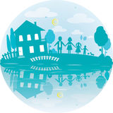 Illustration of happy family and house of dreams Stock Images