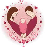 Illustration of happy family with newborn baby Stock Photo