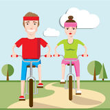 Illustration of happy family riding on bicycle together. Boy and girl Stock Photo