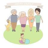 Illustration of a happy family. Three generations of people. Fla. T style Royalty Free Stock Images