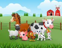 Happy farm animals in the hills. Illustration of happy farm animals in the hills Stock Photo