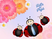 Happy father`s day. Illustration of happy father`s day with ladybugs stock illustration