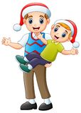 Happy father and son celebrating christmas. Illustration of Happy father and son celebrating christmas Royalty Free Stock Photos