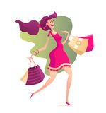Illustration of happy female with shopping bags Royalty Free Stock Photography