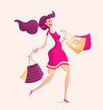 Illustration of happy female with shopping bags Stock Images