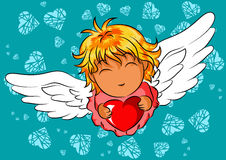 Illustration of happy flying angel with a heart in her hands. In cartoon style Stock Photo