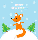 Illustration of a happy fox in a snowy landscape Stock Image