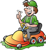 Illustration of an happy Gardener riding his lawnm Royalty Free Stock Image