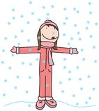 Happy kid in winter. Illustration of happy girl catching snowflakes Stock Image