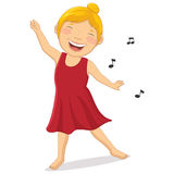 Illustration of Happy Girl Dancing Stock Photo