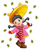 Happy girl under umbrella. Illustration of Happy girl under umbrella Royalty Free Stock Photos