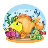 Illustration of a happy goldfish Royalty Free Stock Photos