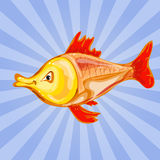 An illustration of a happy goldfish cartoon character waving vector illustration