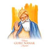 Happy Gurpurab, Guru Nanak Jayanti festival of Sikh celebration background stock illustration