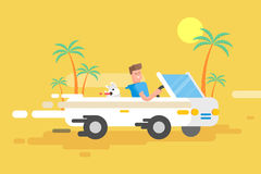 Illustration happy guy drives a white convertible Royalty Free Stock Photos