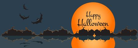 Illustration of a happy halloween banner with halloween city scene. Vector illustration. Illustration of a happy halloween banner with halloween city scene stock illustration