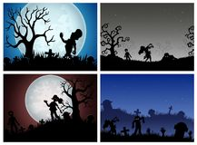 Happy Halloween banner set with zombies party Royalty Free Stock Image
