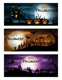 Happy halloween day banner set Royalty Free Stock Photo