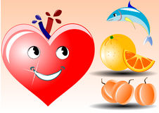 Illustration of happy heart looking at healty food. Vector illustration of happy heart looking at tuna fish orange and apricot or peach Stock Photo
