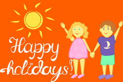 Illustration happy holidays with children Stock Images