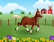 Happy horse cartoon in the farm with green field stock illustration