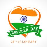 Illustration of Happy Indian Republic day 26 January celebration, date on which the Constitution of India formed. Illustration of Happy Indian Republic day 26 Stock Image