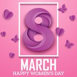 Happy international women`s day greeting card with number purple eight in square frame and butterflies on pink background. Illustration of Happy international Royalty Free Stock Photography