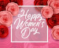 Happy International Women`s Day with paper cut roses flower and square frame on pink background. Illustration of Happy International Women`s Day with paper cut Stock Photo