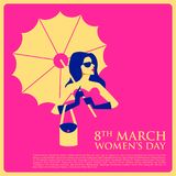 Happy International Womens Day 8th March greetings background. Illustration of Happy International Womens Day 8th March greetings background Royalty Free Stock Photos