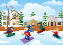 Happy kid playing snowboard in the snowing village. Illustration of Happy kid playing snowboard in the snowing village Stock Photos