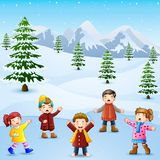 Happy kid singing in the snowing hill Vector Illustration